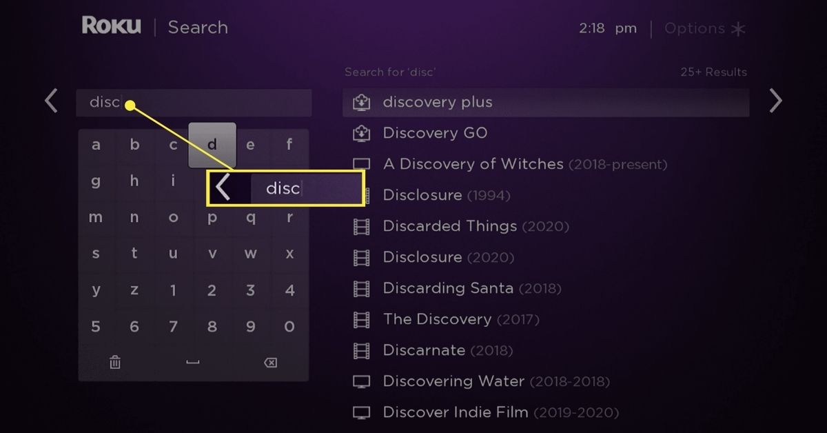 Typing discovery in the Search field on Roku Search
