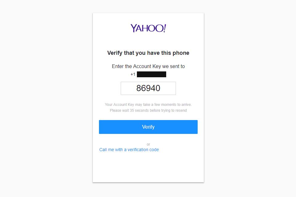 Screenshot of the Yahoo Mail signup screen account key step