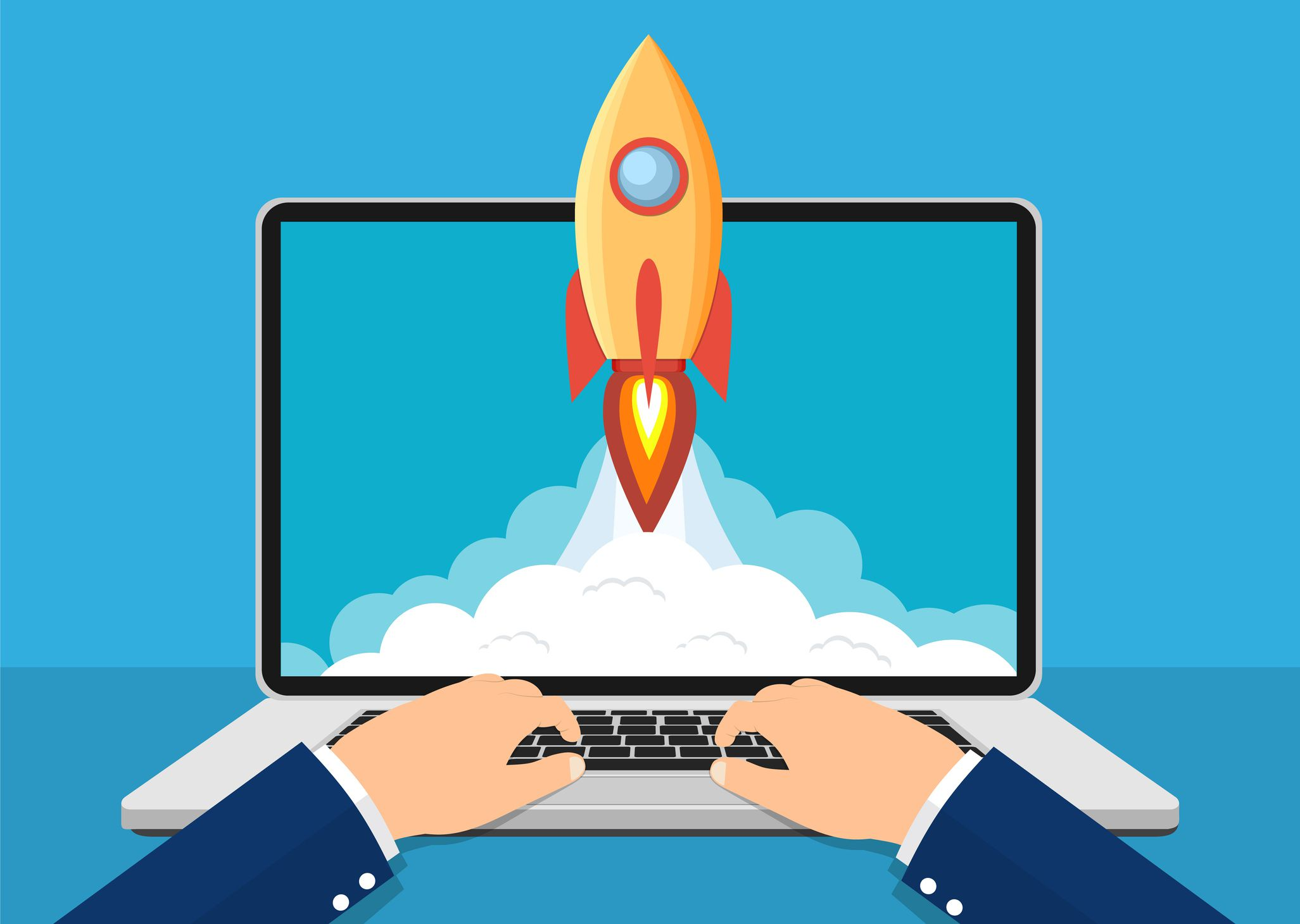 Illustration of hands using new laptop computer with rocket taking off out of the screen