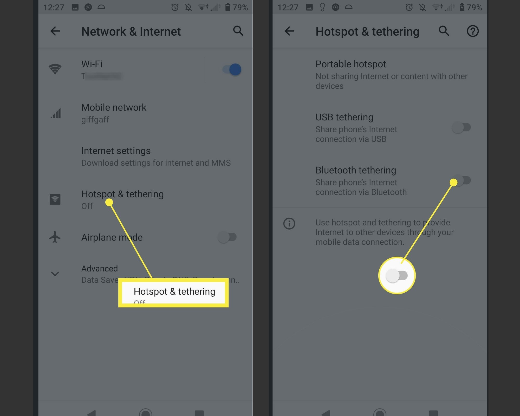 Enabling Hotspot & Tethering on Android.