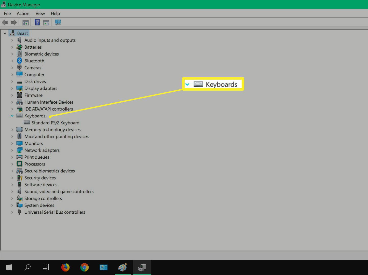 Device manager keyboards option