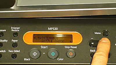 Maintenance menu on pixma printer