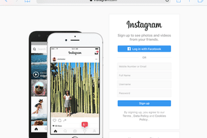 Instagram.com home page on Safari for iPad