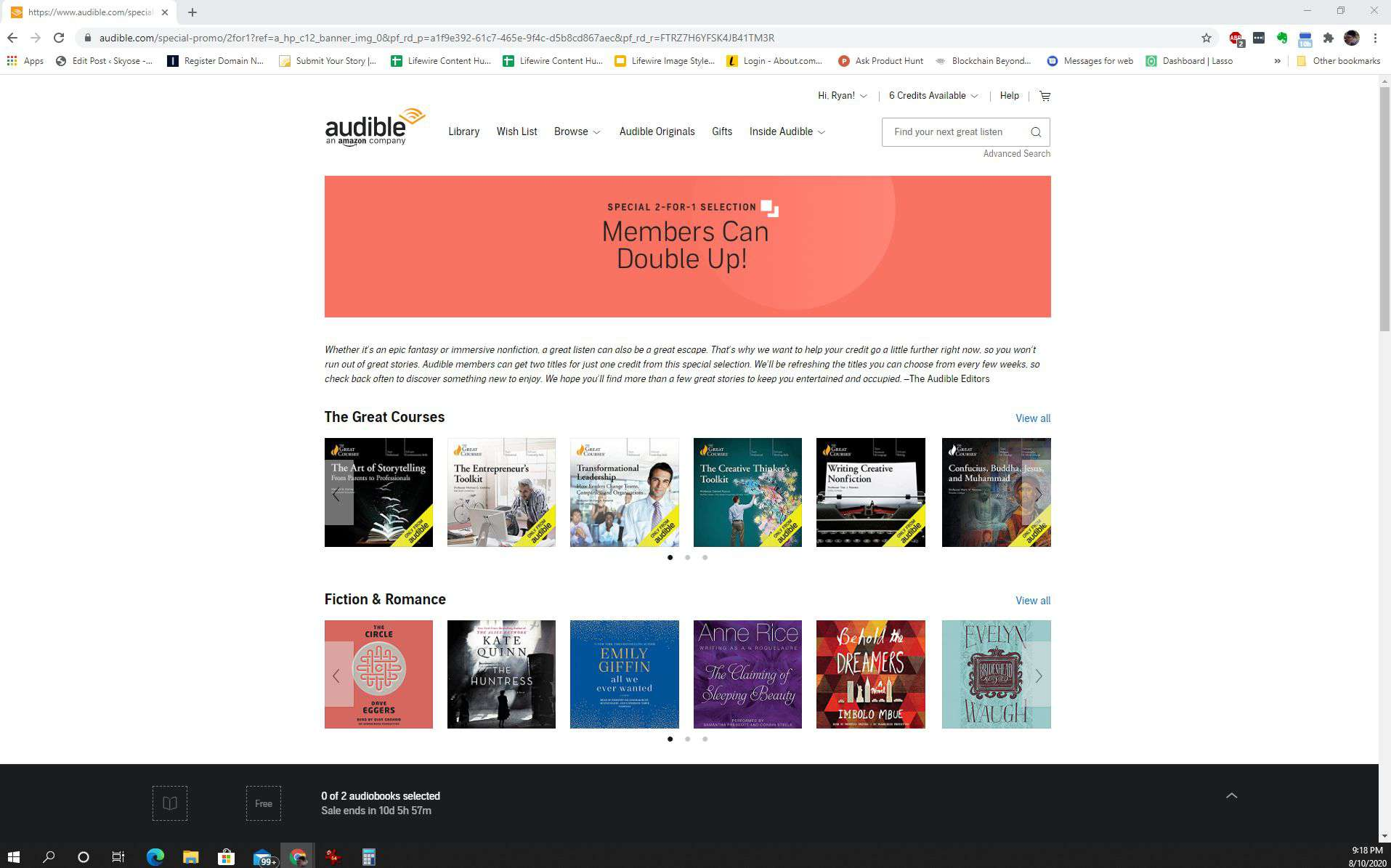 Screenshot of Audible 2-for-1 selection