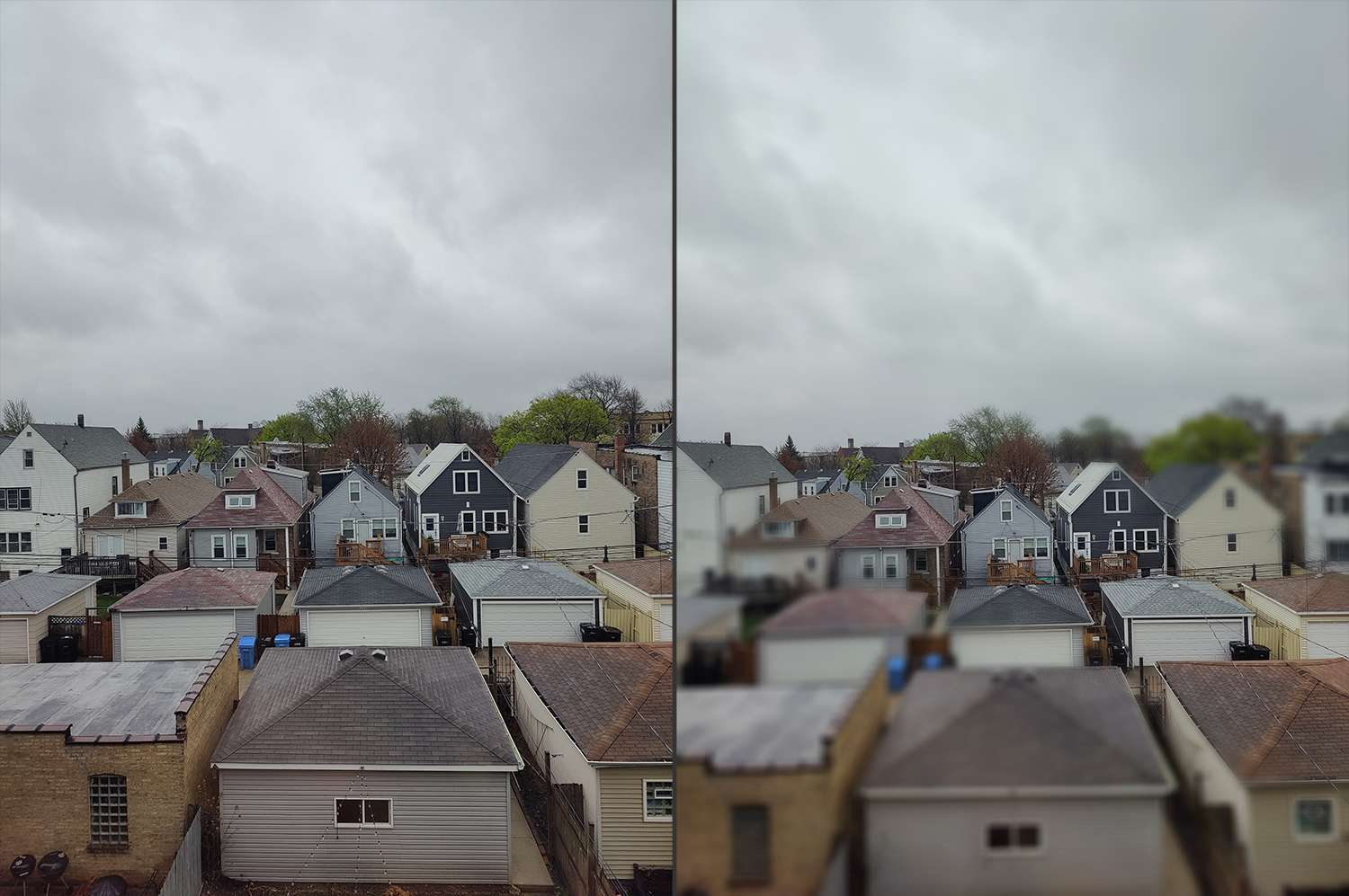 Before and after shot of a city neighborhood using OnePlus tilt-shift mode