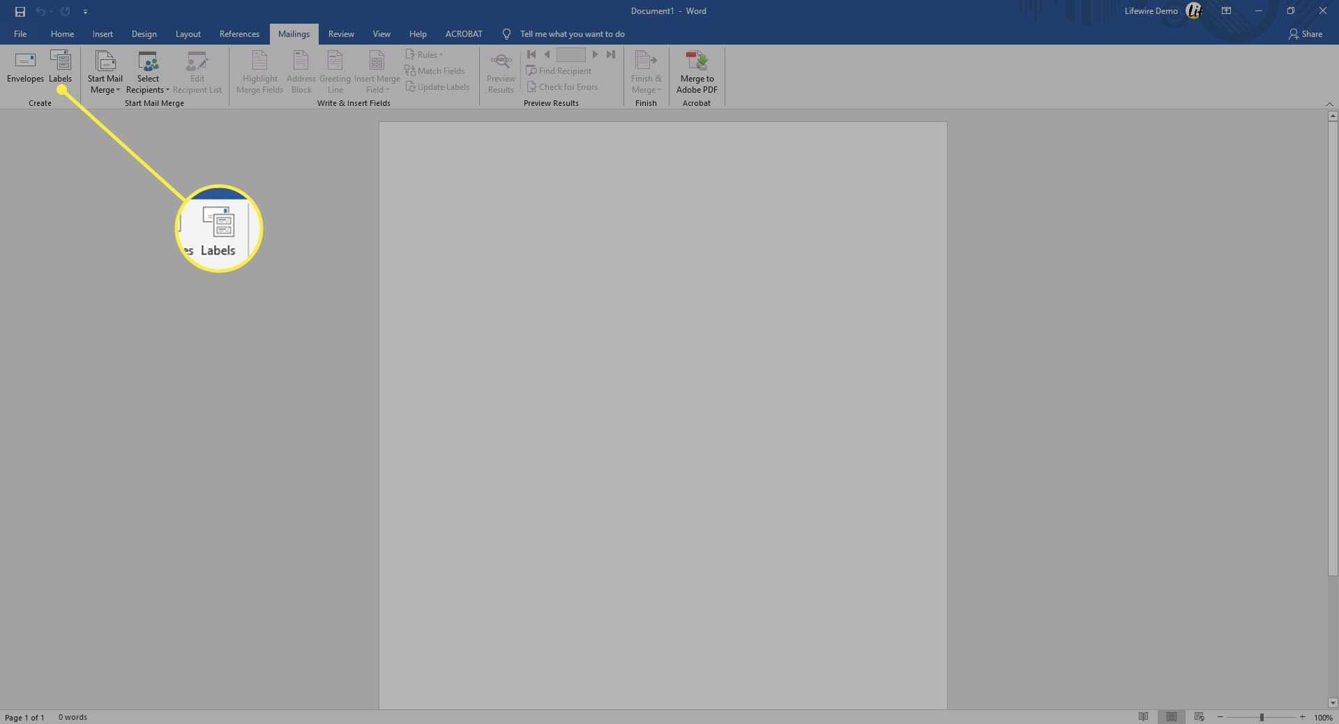 Selecting Labels in Word.