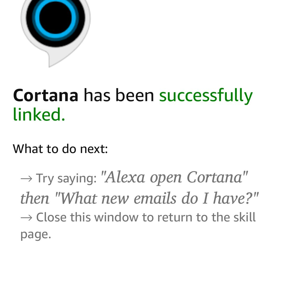 Screenshot that shows Cortana has been successfully linked to Alexa on Android.