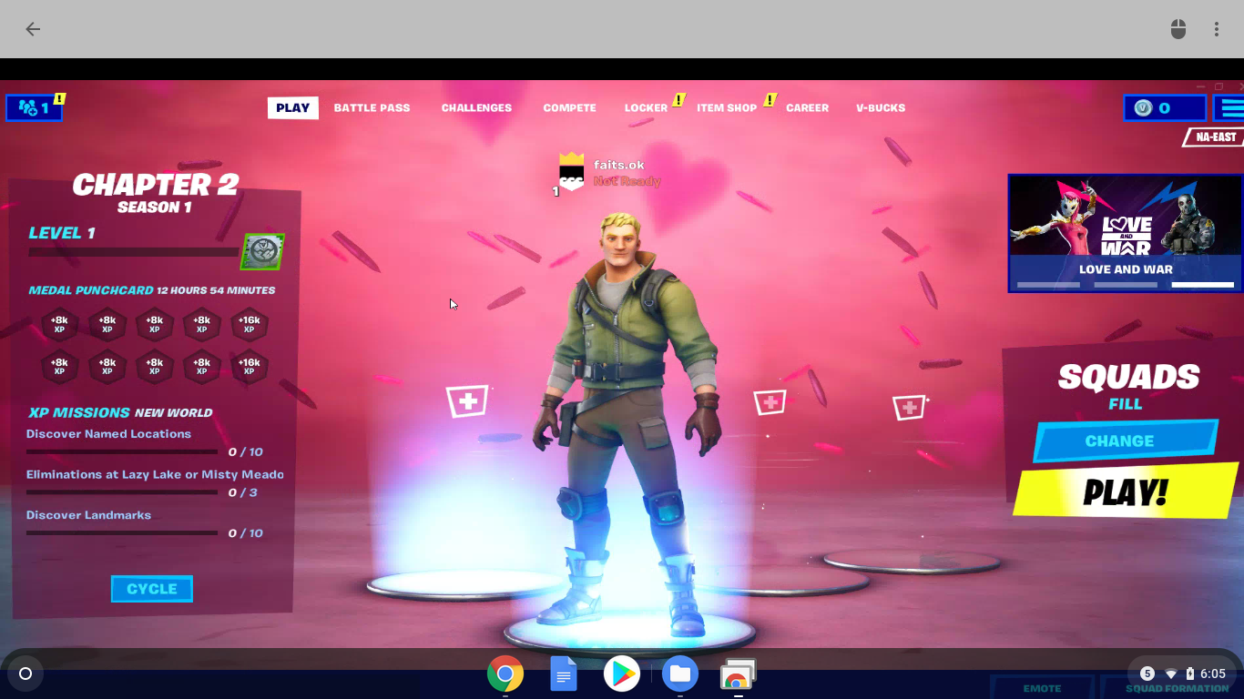 A screenshot of Fortnite running through Chrome Remote Desktop.