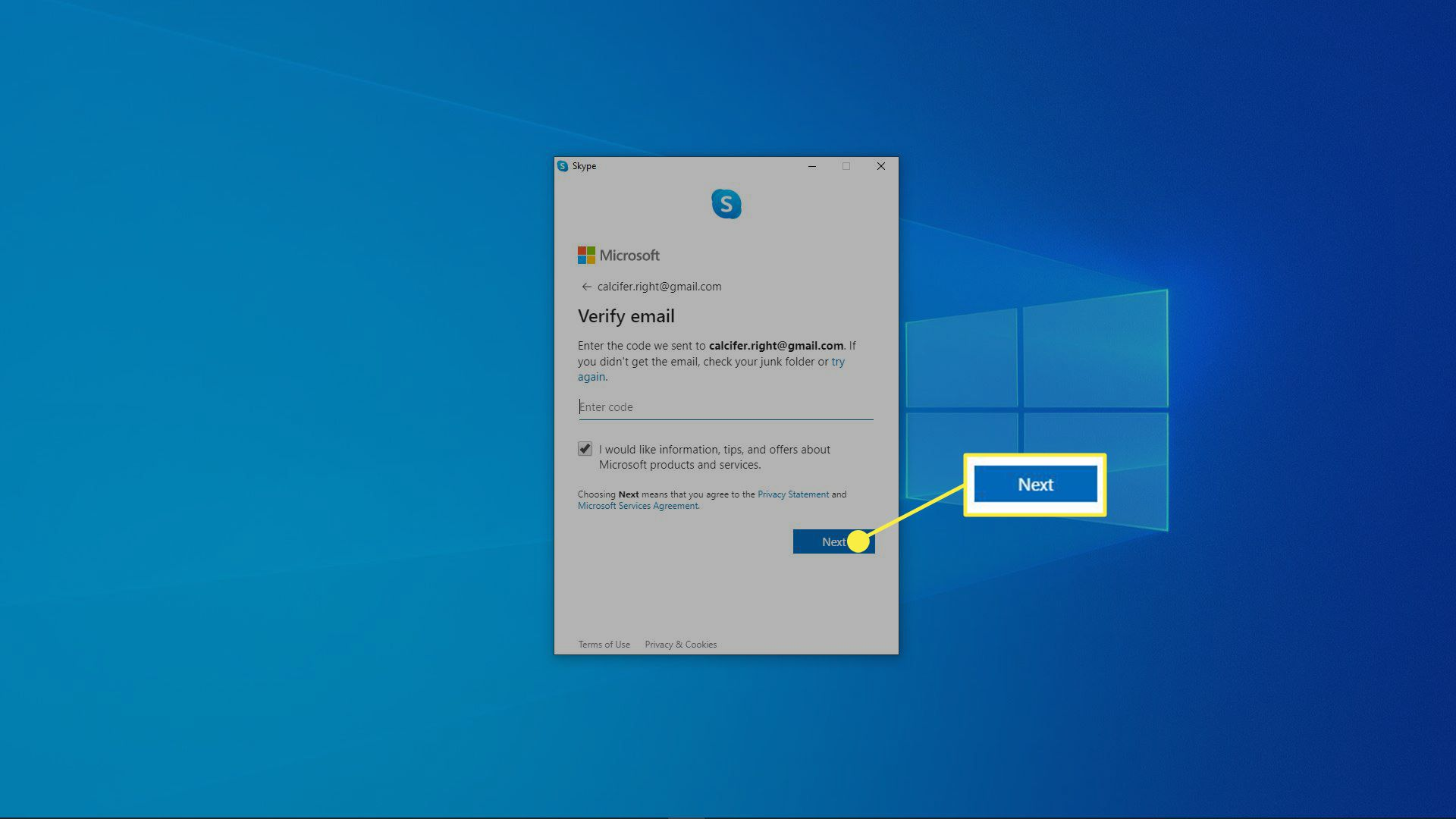 Verify your email address as you're setting up your Skype account.