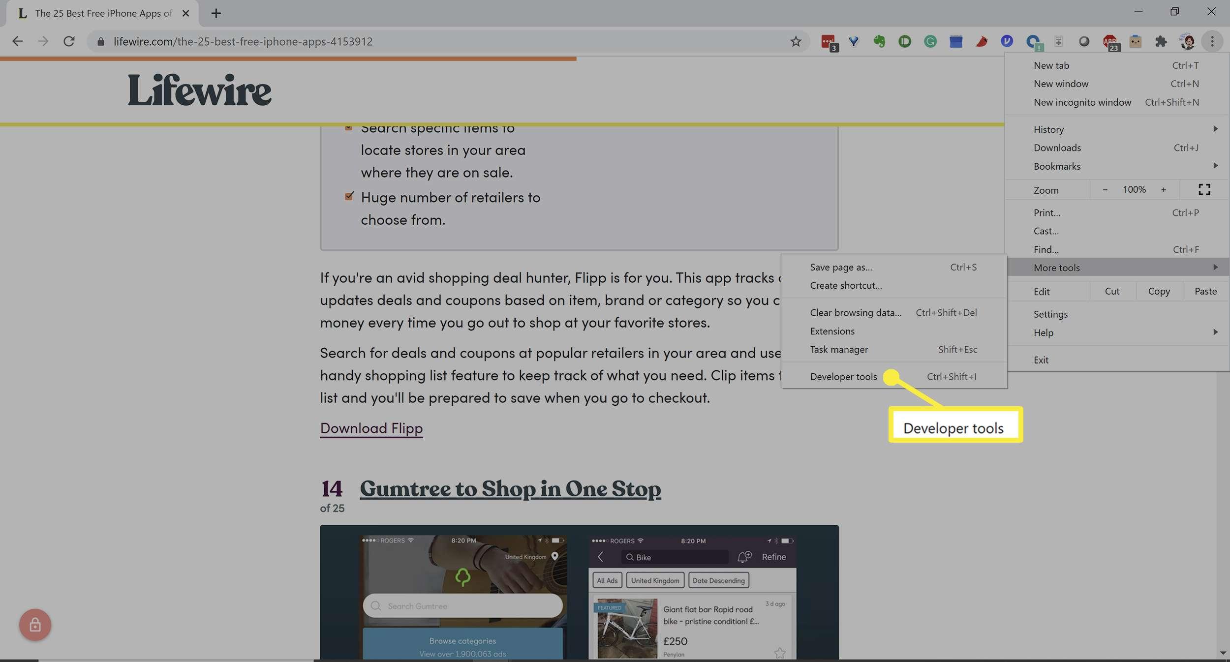 Chrome's screenshot options in developer tools.