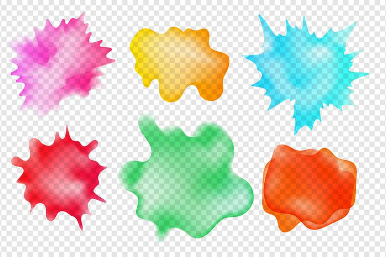 Set of semi-opaque aquarelle spots on transparent background