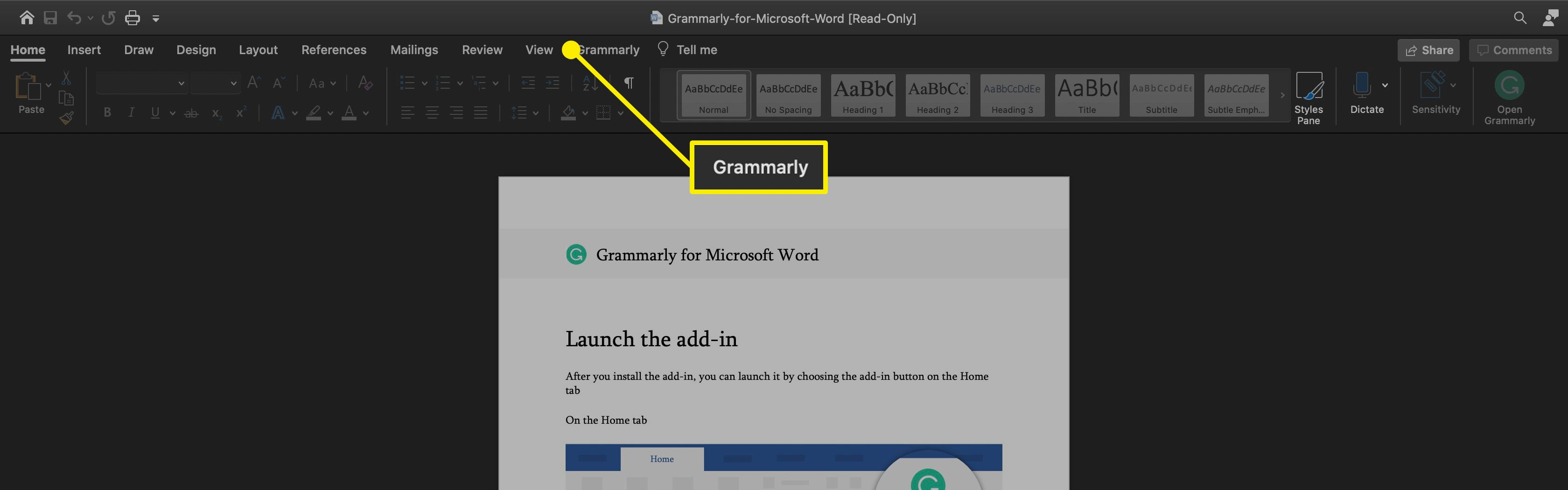 The Grammarly option on the Ribbon in Word for Mac.