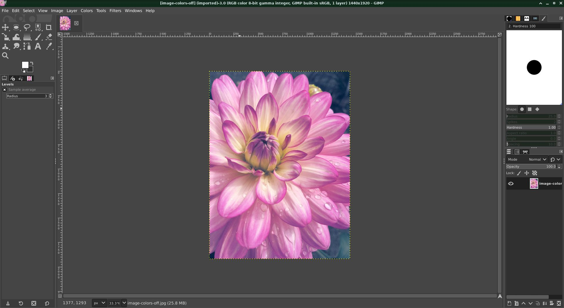 GIMP image with incorrect color