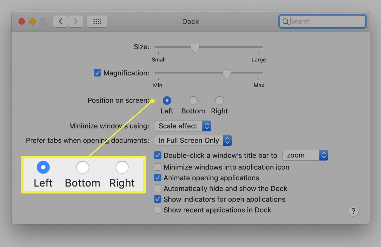 Dock preferences screen on a Mac