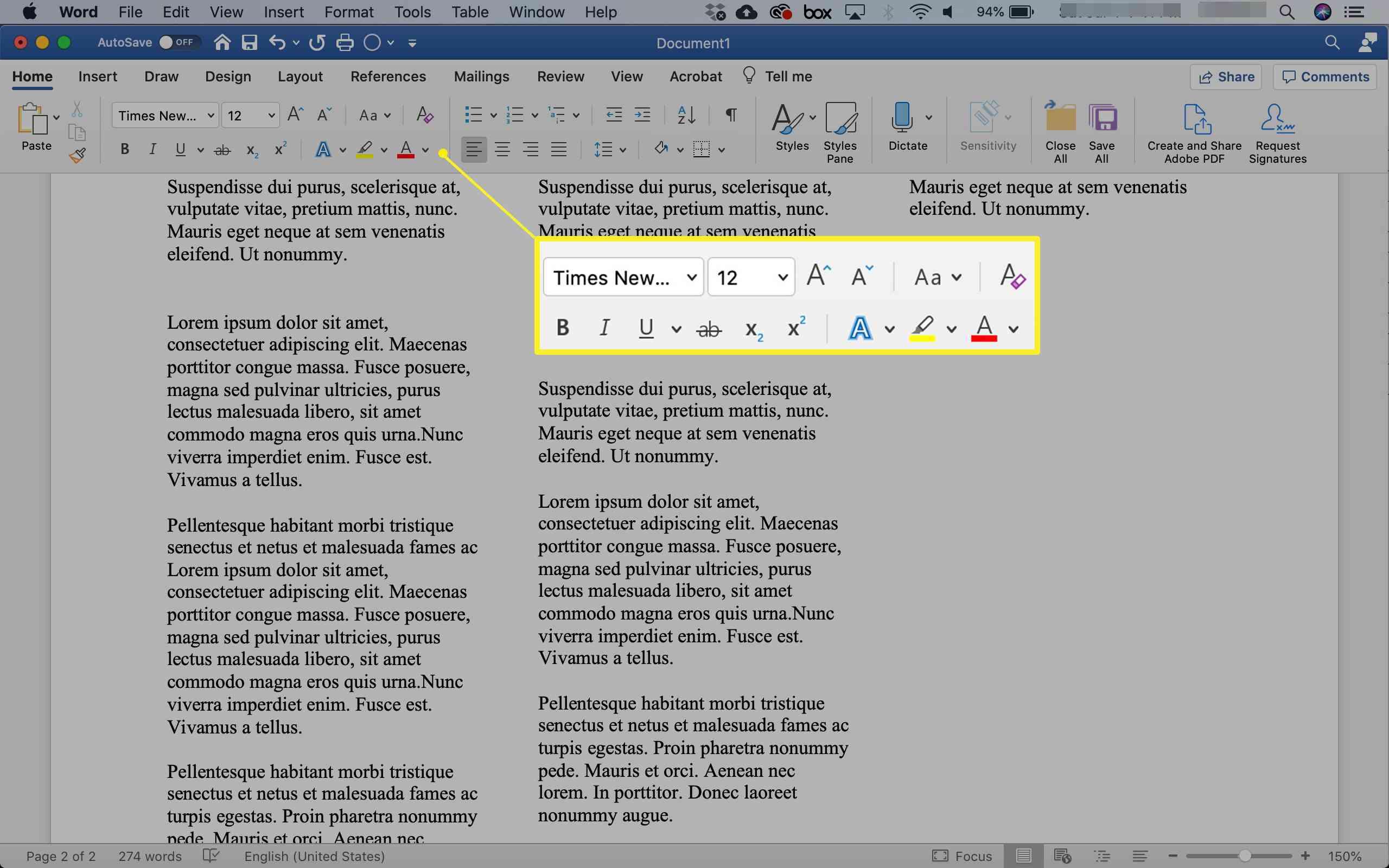 Formatting text in Microsoft Word