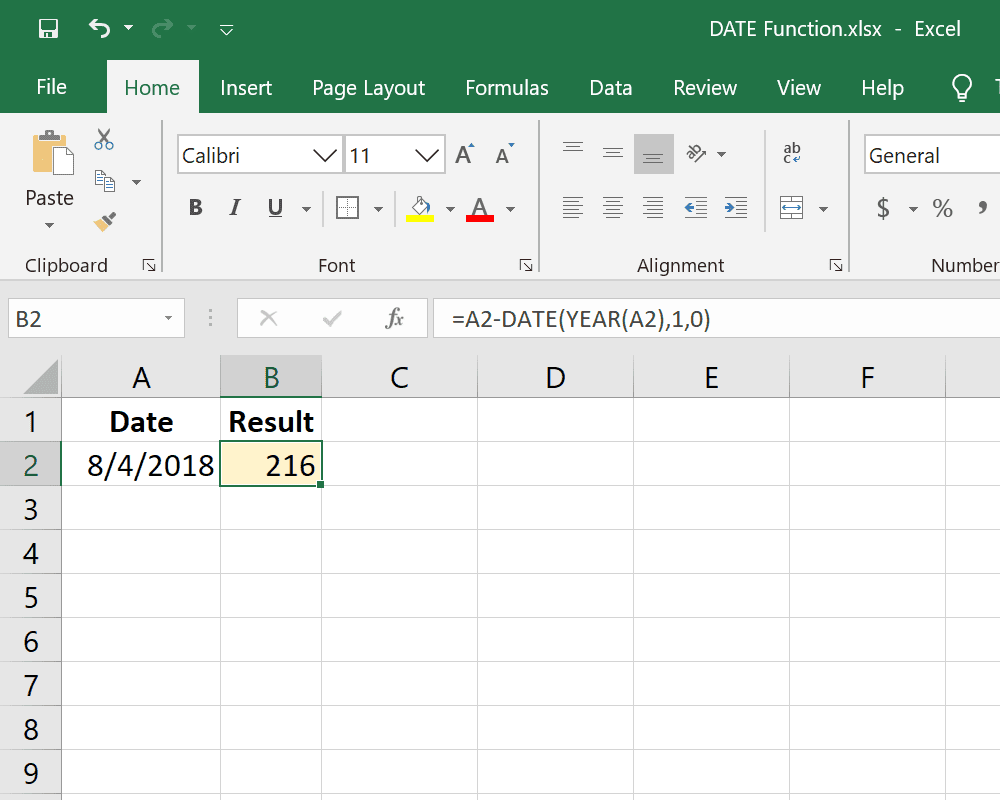 Excel DATE function counting days