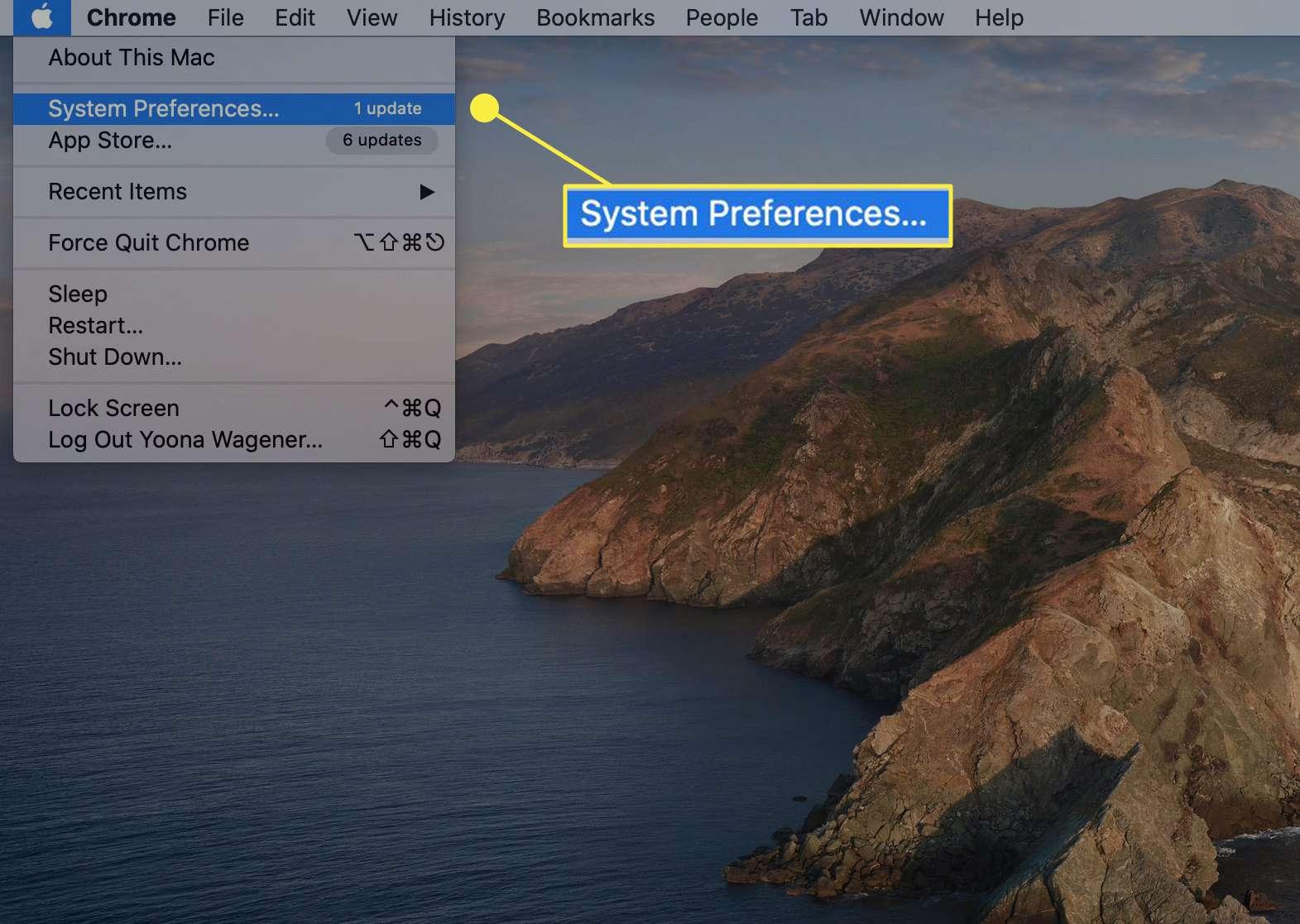 System preferences menu on a macOS.