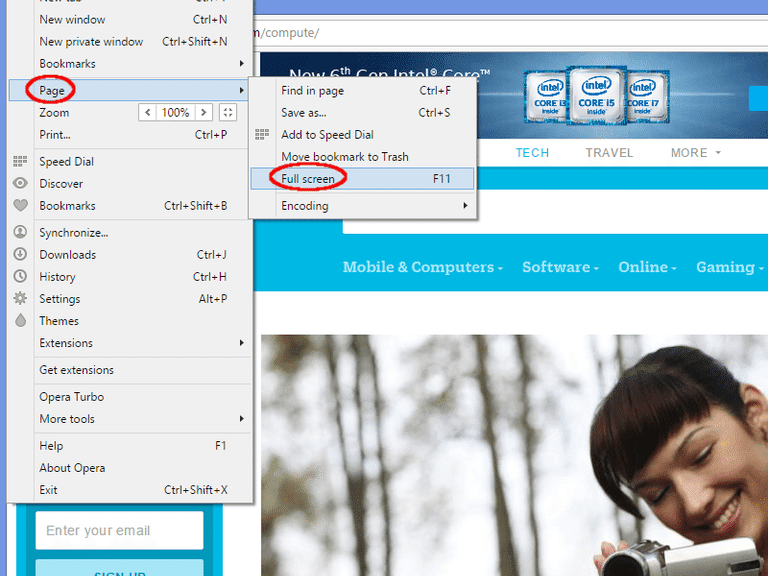 Activating Full-Screen Mode in the Opera Browser