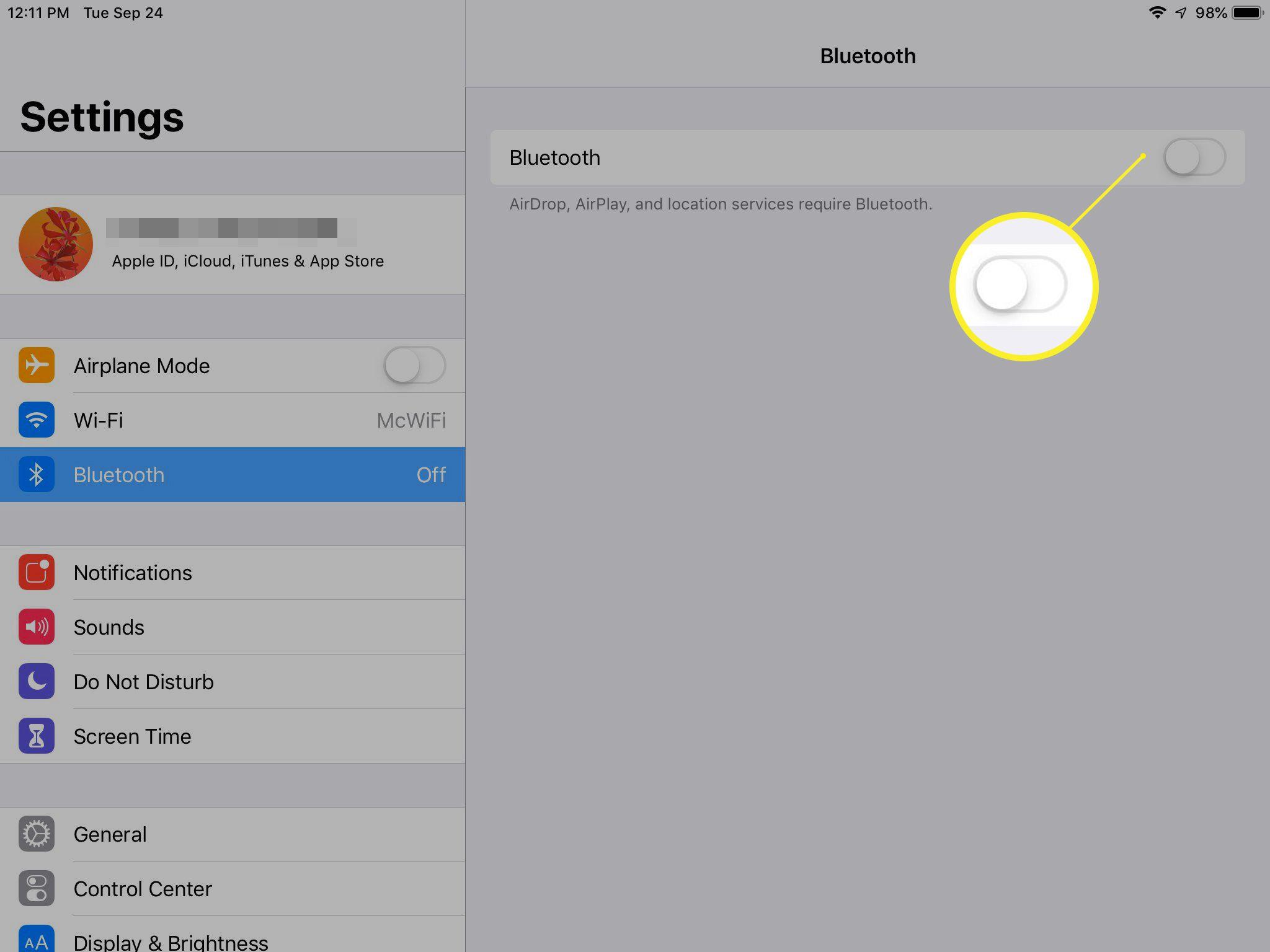 Turning off Bluetooth iPad
