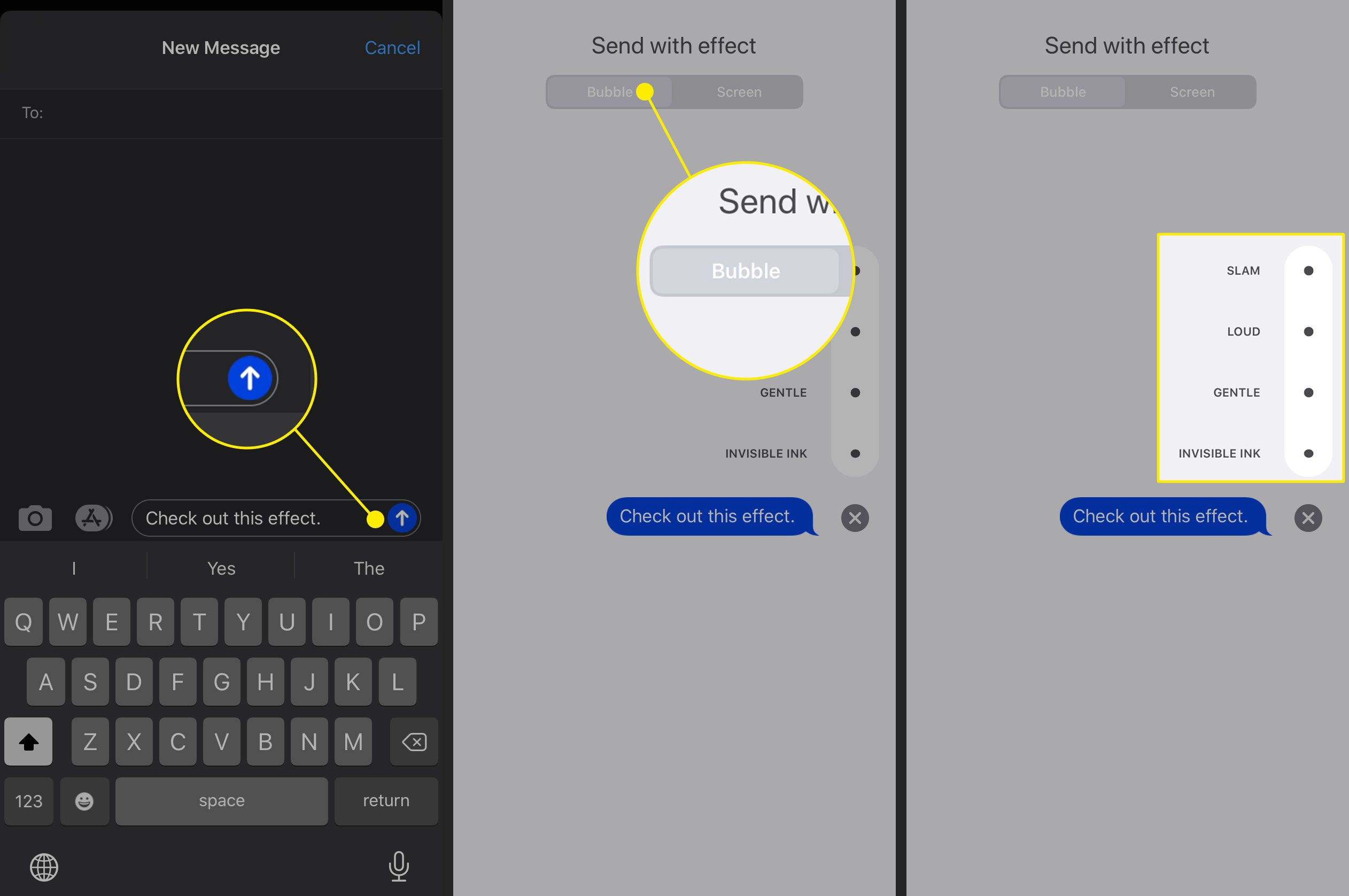 Bubble effects in Messages for iOS