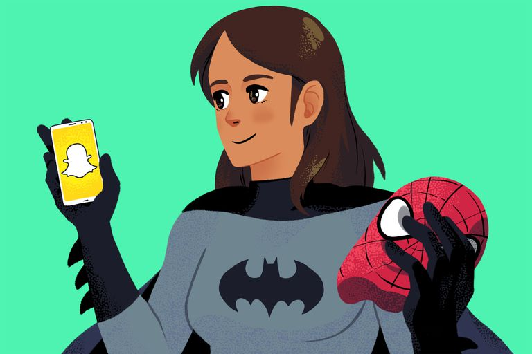Illustration of a woman in a Bat-person costume holding a Spider-man mask and a Snapchat app on a phone
