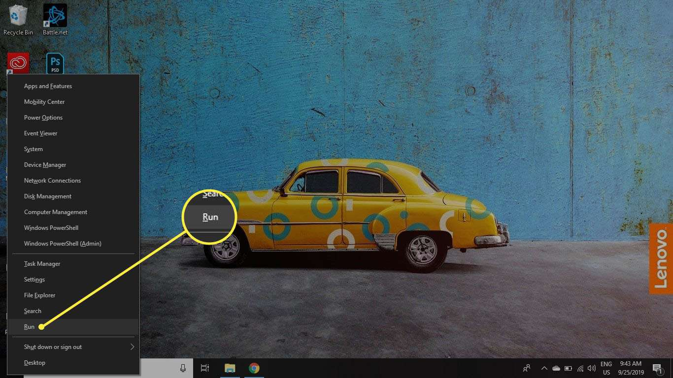 Right-click the Windows icon and select Run to open the command prompt.