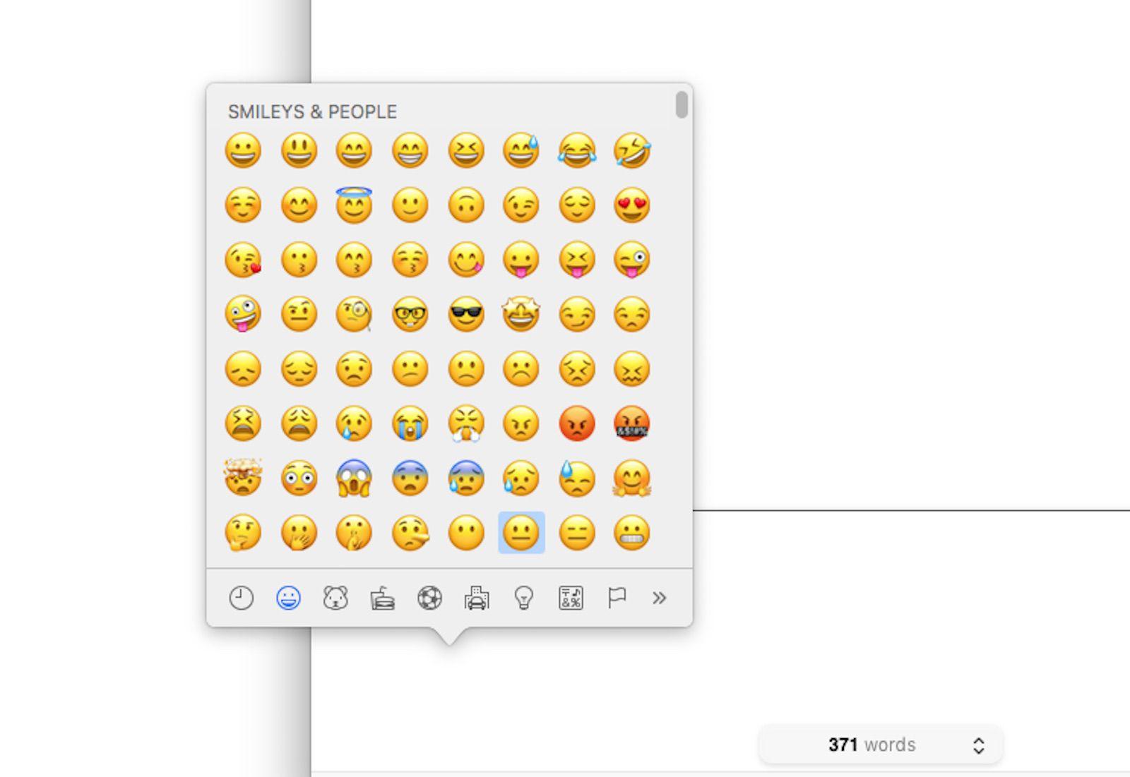 A screenshot of the emoji keyboard on a Mac.