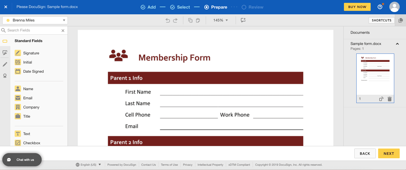 Entering fields and more using DocuSign's PDF creator