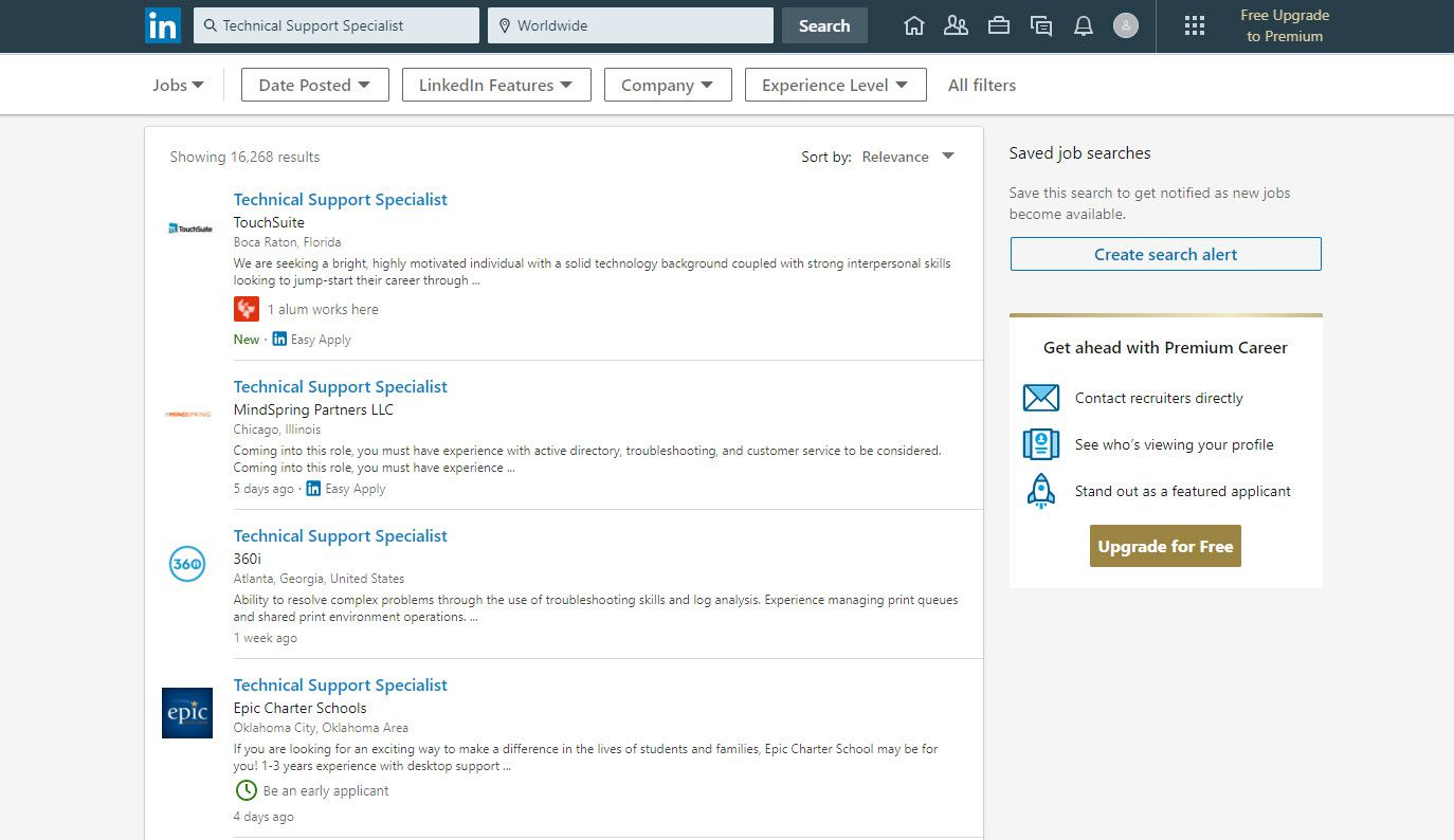 Screenshot of a job search for a technical support specialist on LinkedIn.