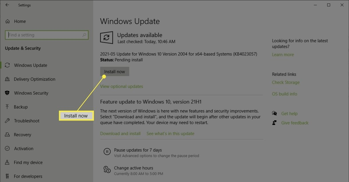 Install Now button on Windows Update screen