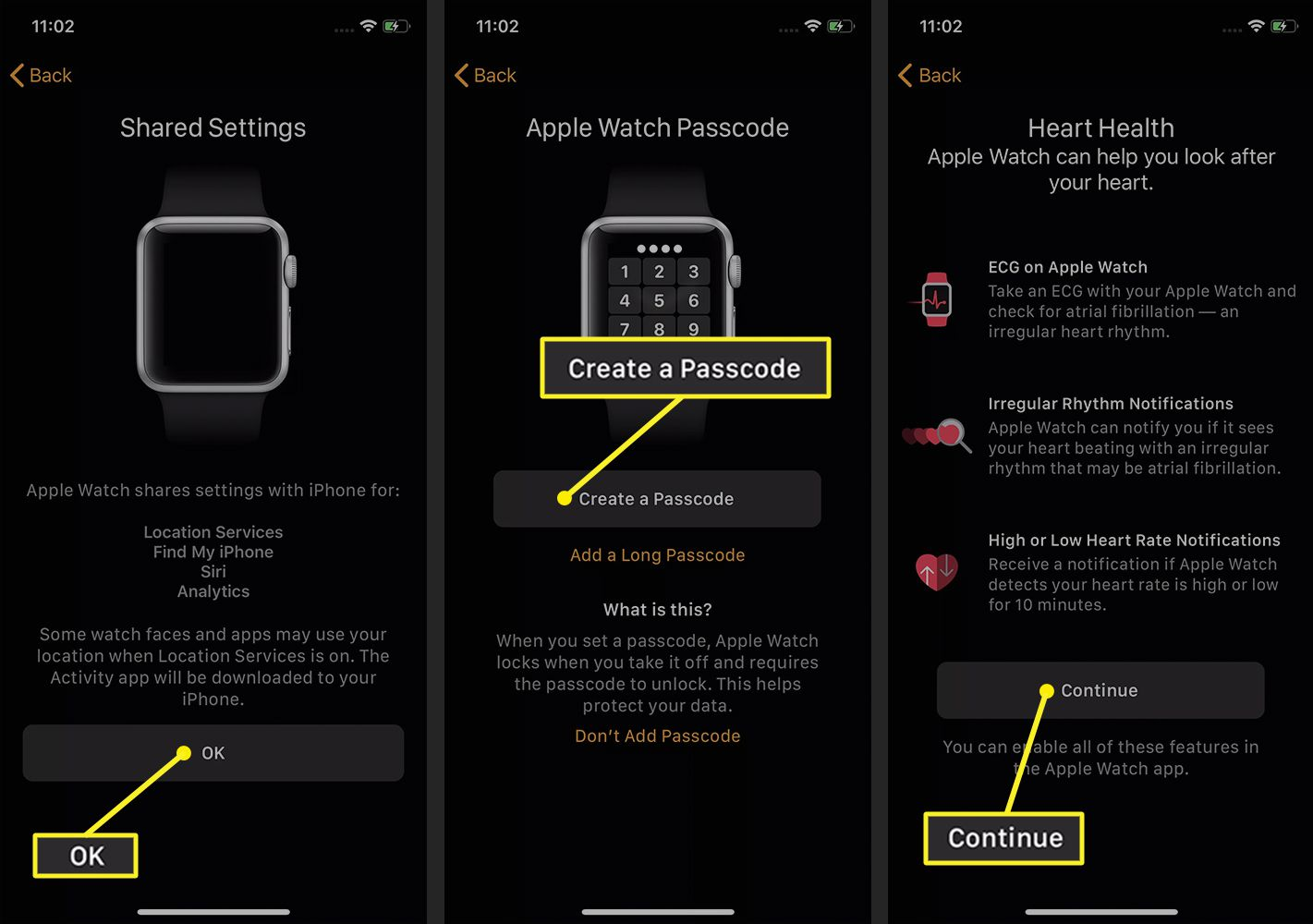 Watch app on iPhone showing Settings, Passcode setup, and Health information