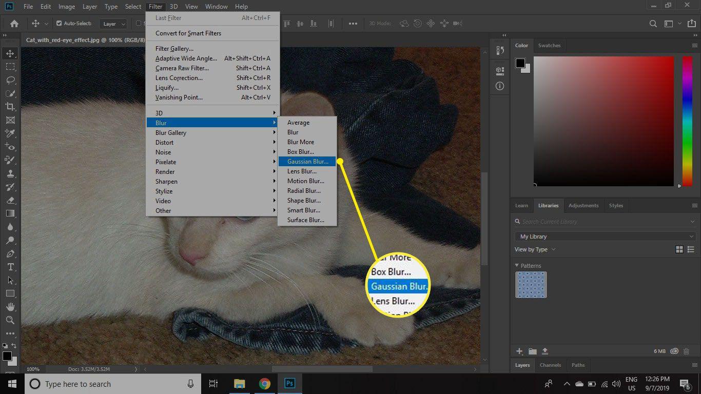 Select Filters > Blur > Gaussian Blur.