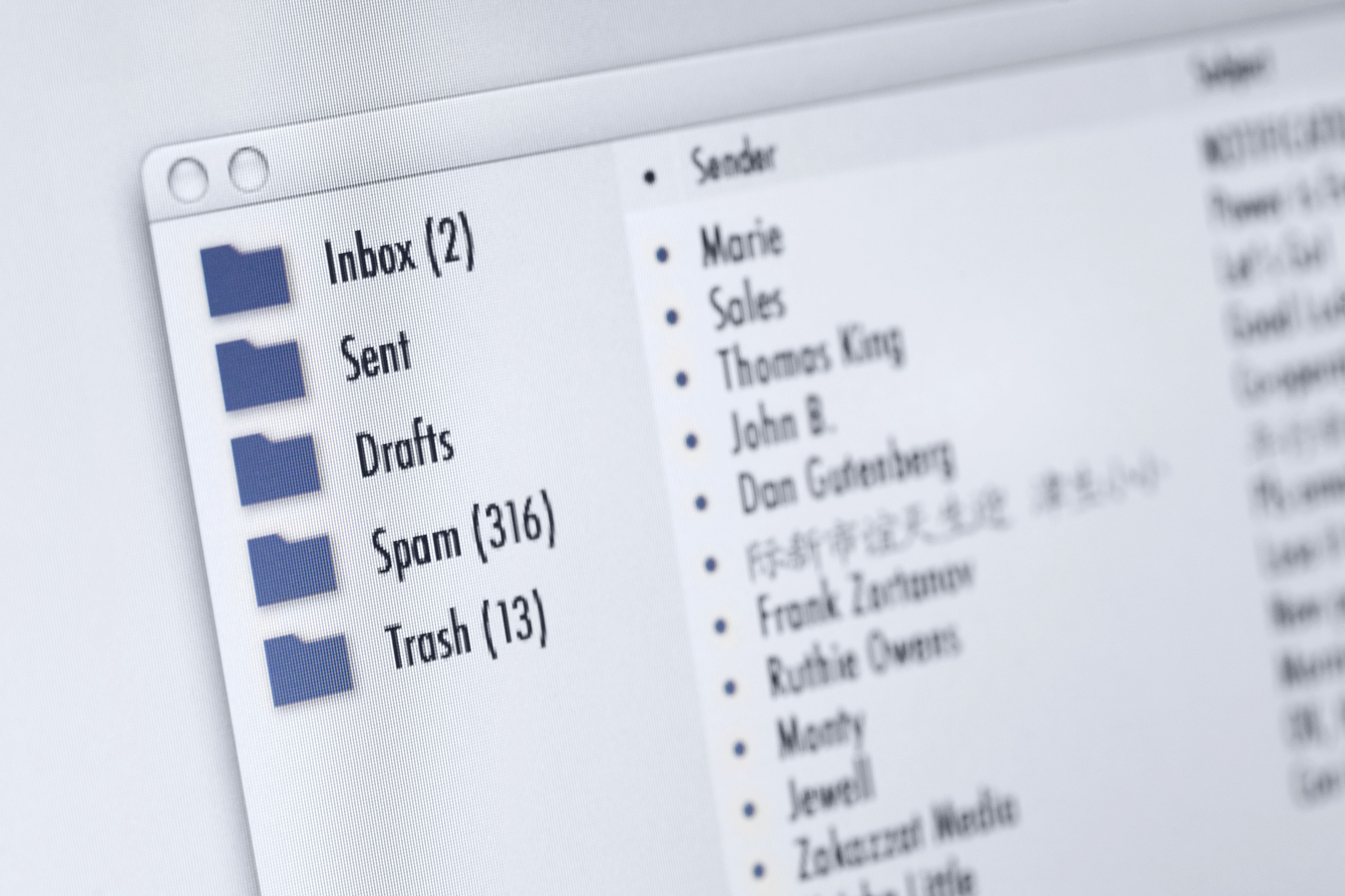 Mail program on computer screen