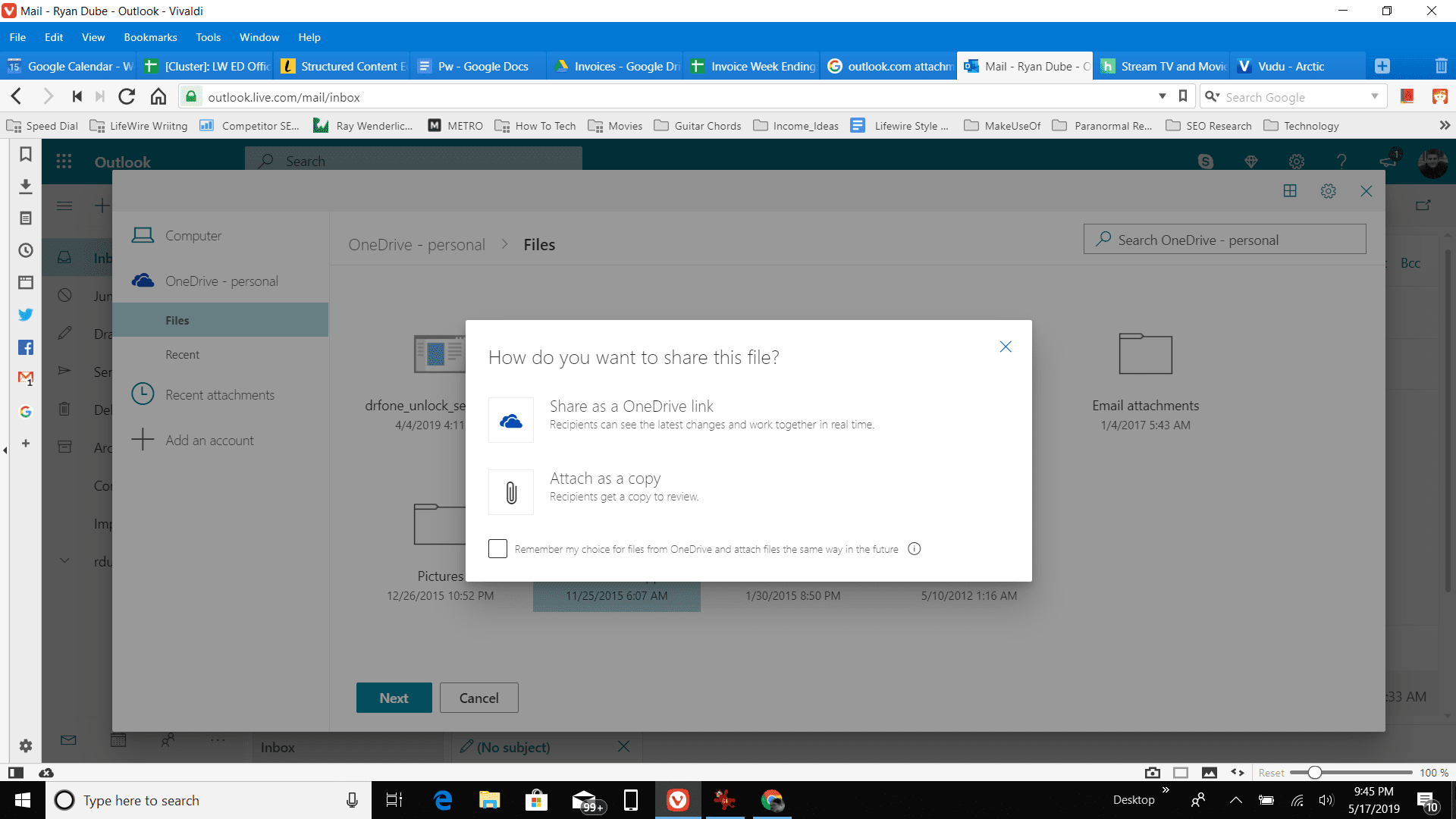 attaching a OneDrive file in Outlook online