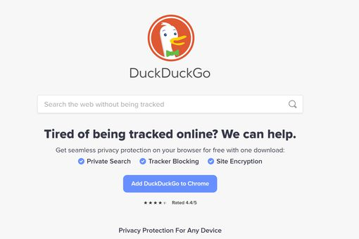 DuckDuckGo homepage.