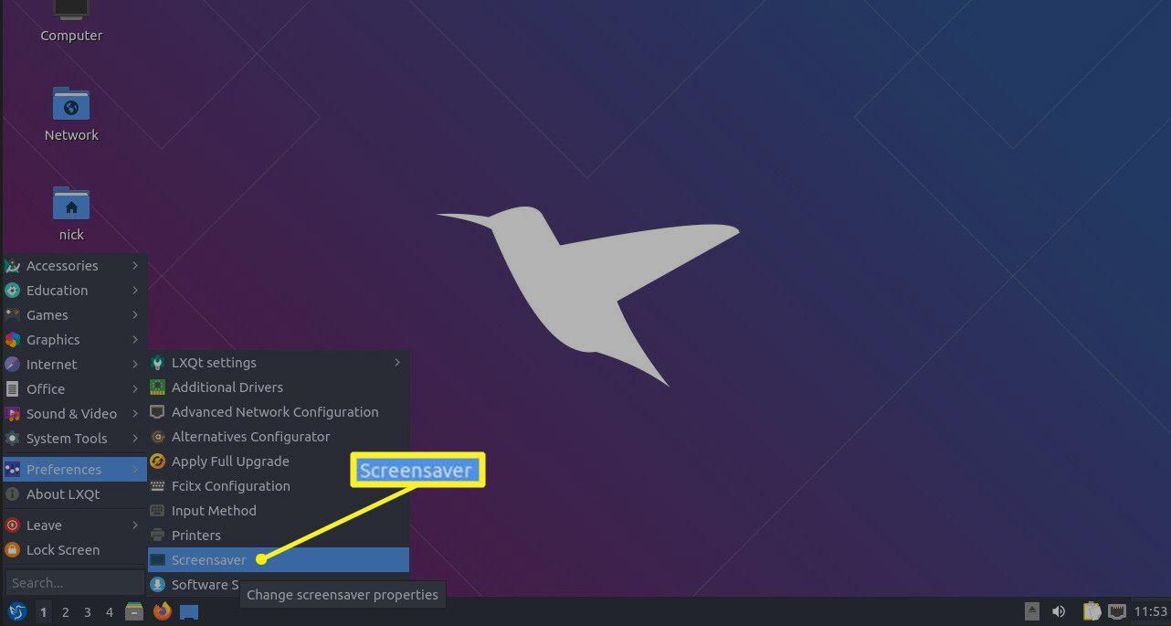 Lubuntu menu Screensaver selection