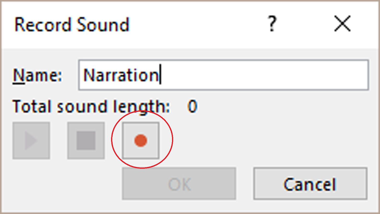 powerpoint record sound