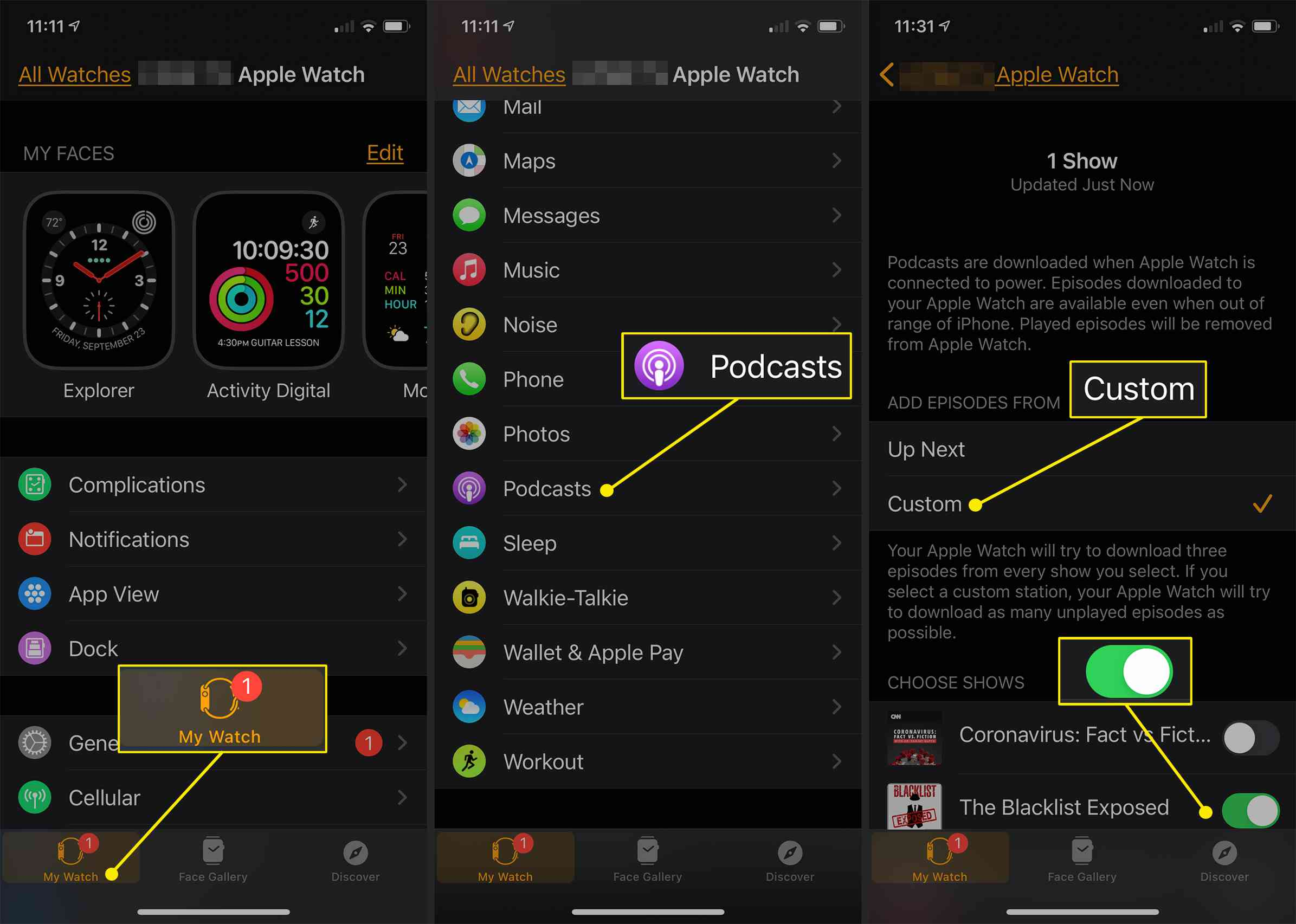 iPhone Watch app showing Podcast options