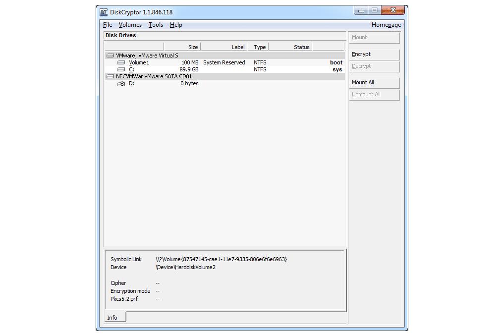 Diskcryptor disk drives list