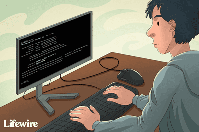 Person using DOS on a computer