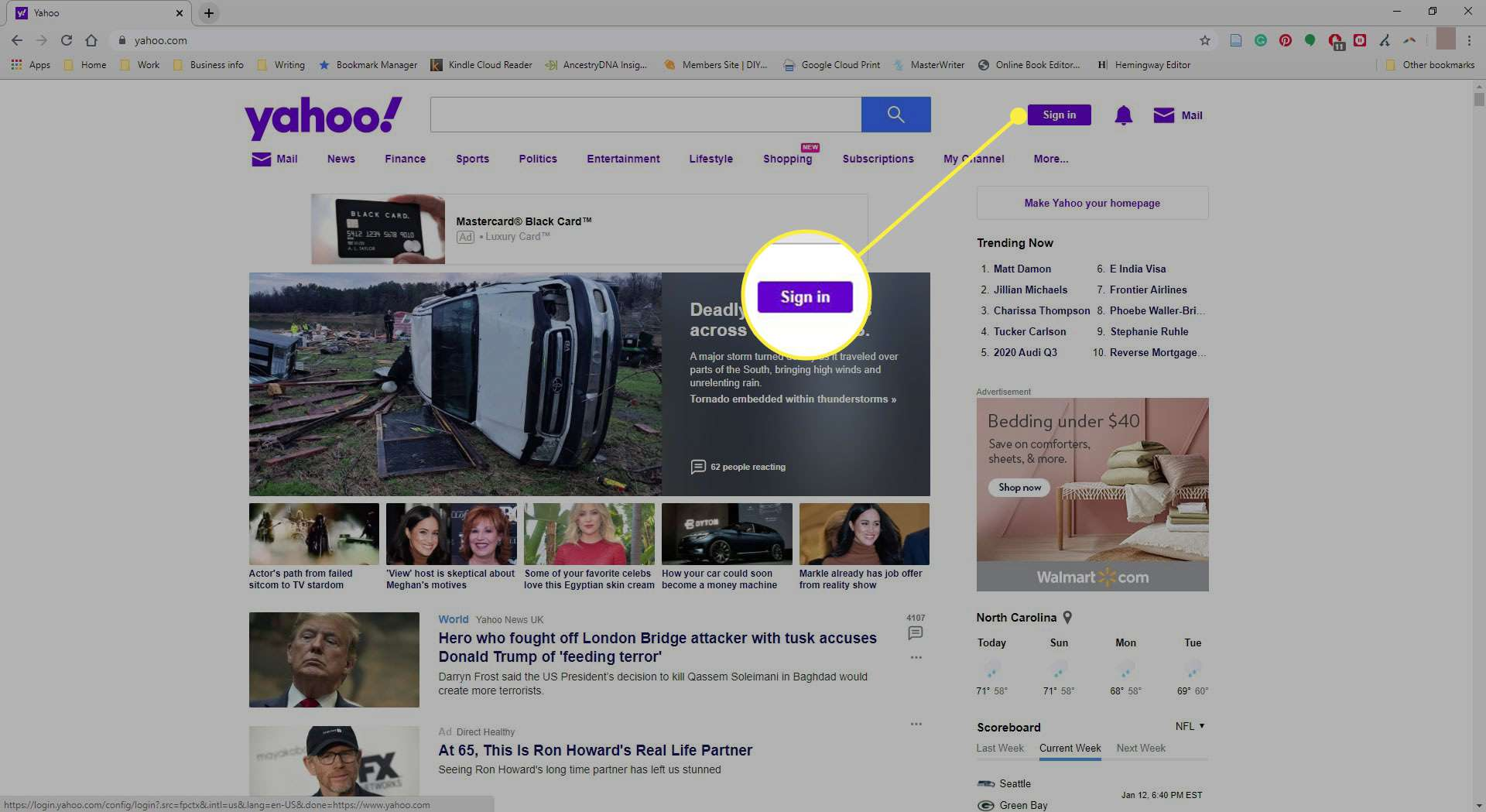 A screenshot of the Yahoo homepage with the Sign In button highlighted