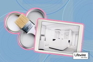 Photo composite of paint cans and a brush, and a tablet showing a bedroom design.