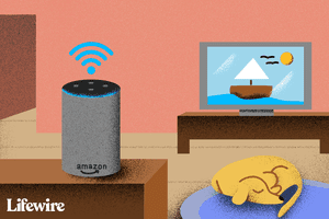 Illustration of a Wi-Fi connected Amazon Echo in a living room