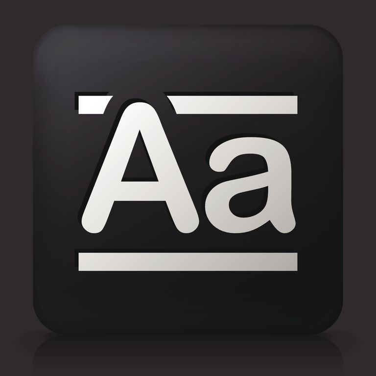 Black Square Button with Alphabet A