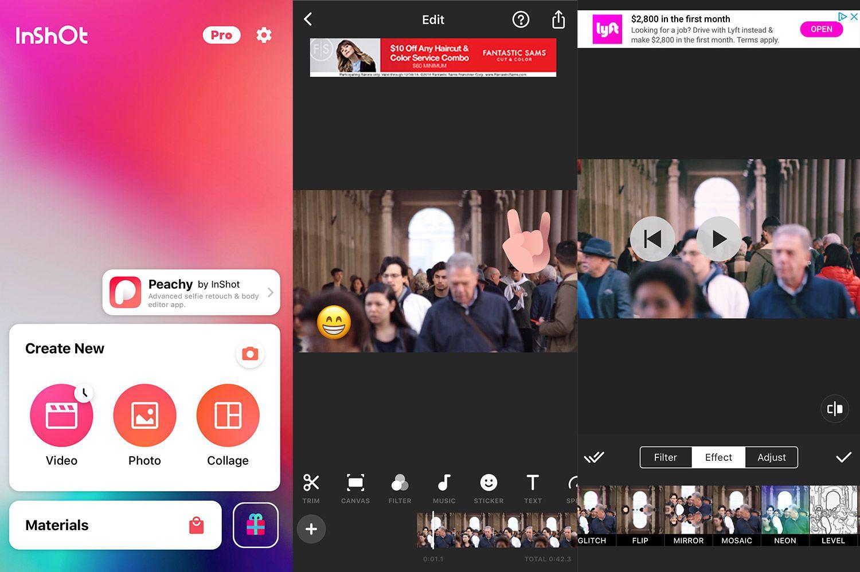 Screenshots of InShot video editor on iOS