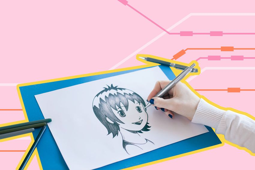 Photo composite of someone drawing a manga character.