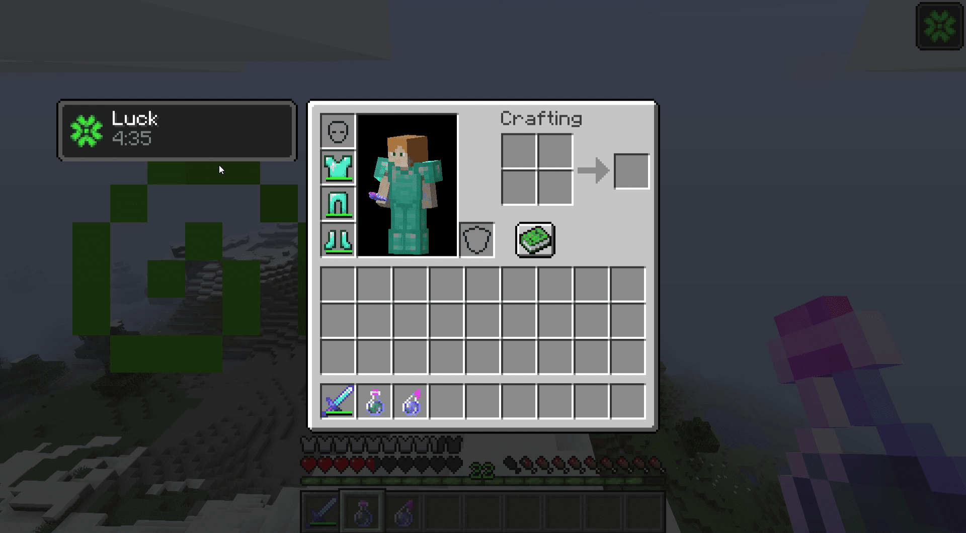 A screenshot of the Minecraft equipment menu with luck active.