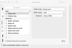 Accessibility's Dictation commands