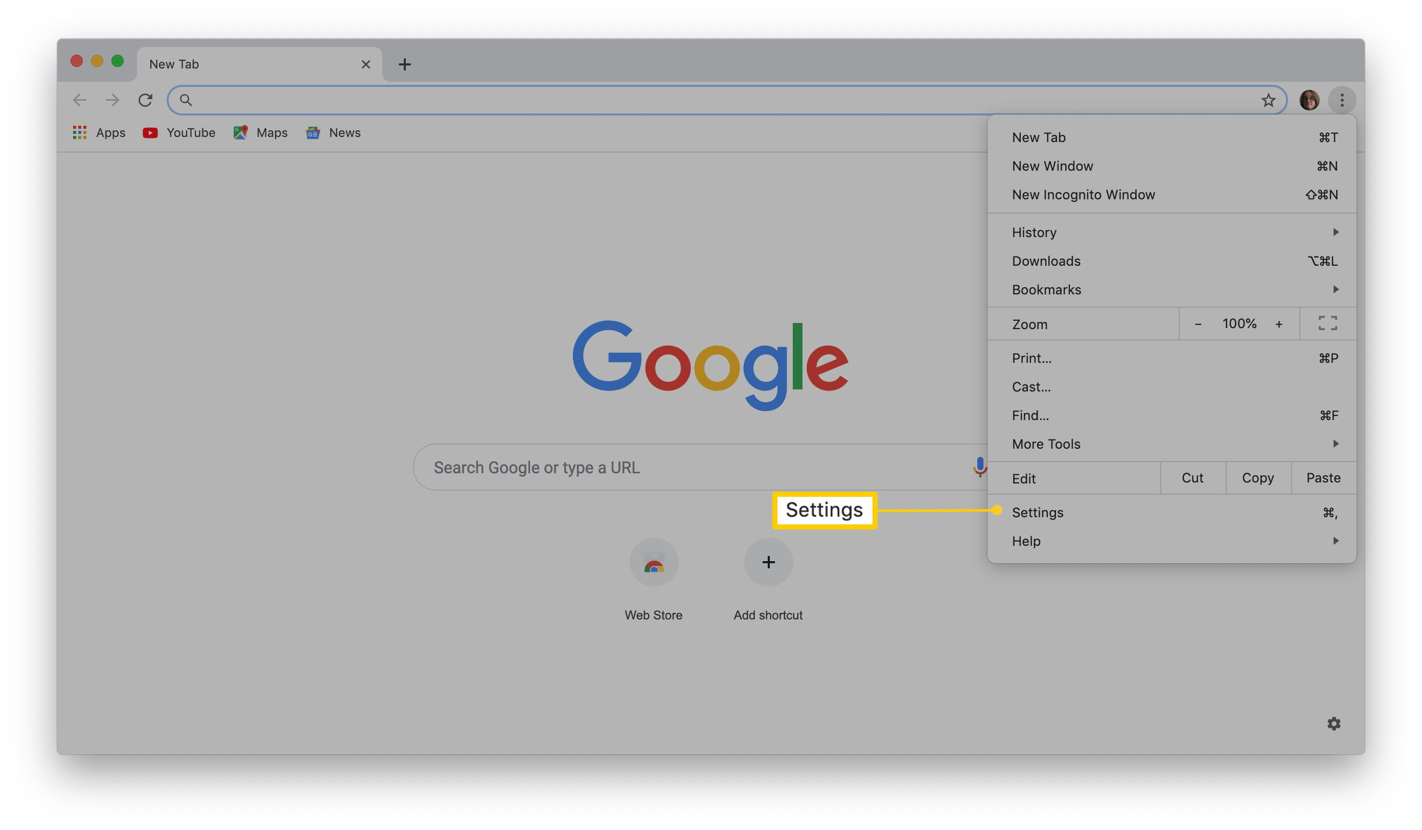 Where to find Settings on Google Chrome