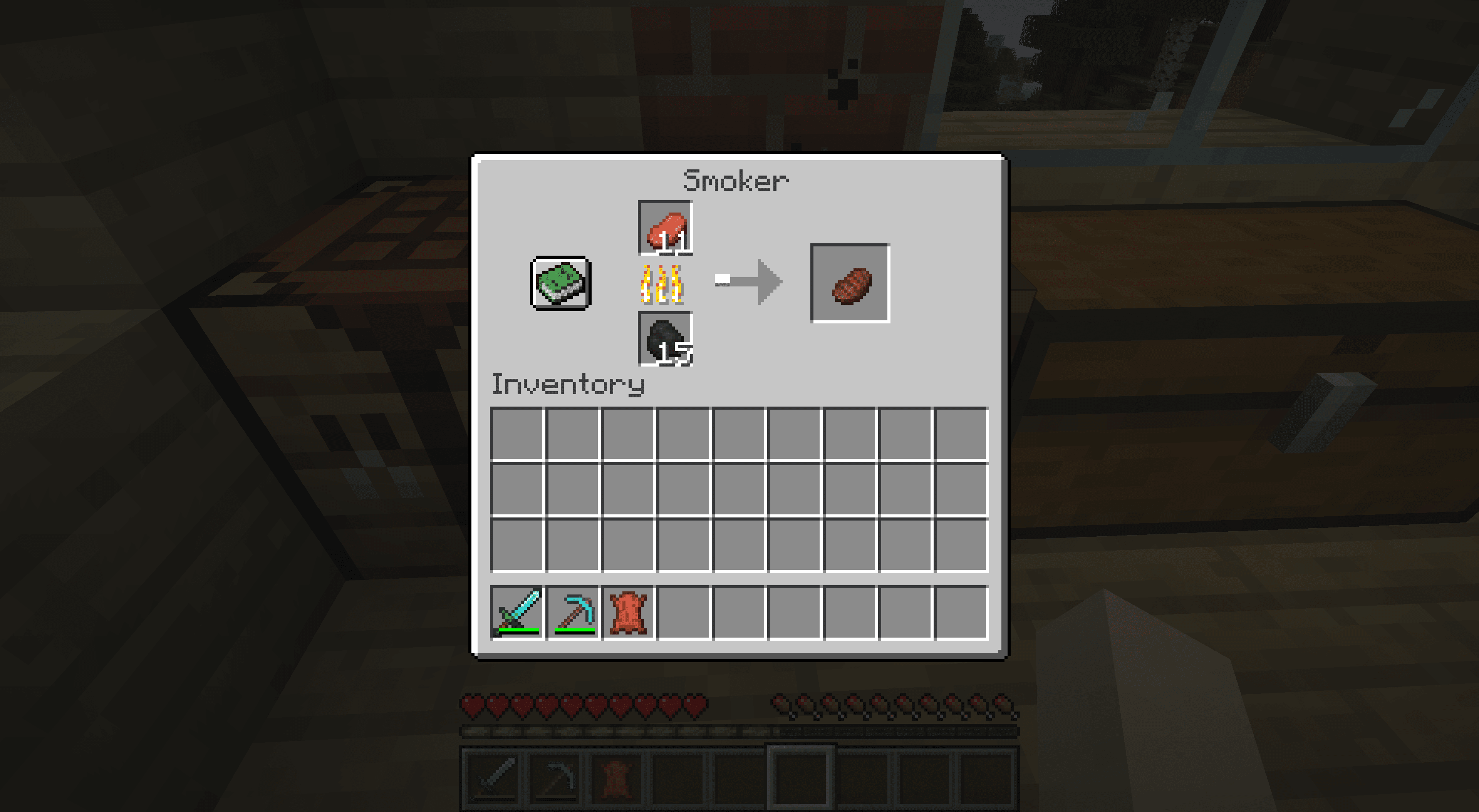 Beef smoking in a smoker in Minecraft.